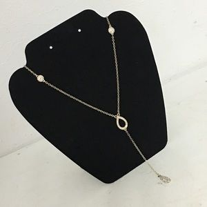 WHBM Gold Tone Long Rhinestone Drop Necklace